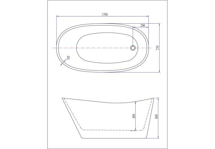 BWS Vrijstaand Trapeze Ligbad Acryl 170x77 cm Wit (inclusief witte waste en overloop)