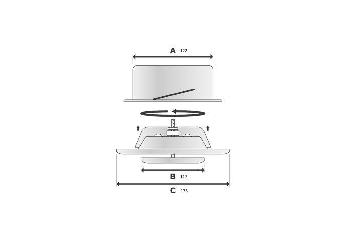 Ventiel Rooster BWS Ventilatie Aansluitmaat Ø 125mm Afvoer En Toevoer Geborsteld RVS