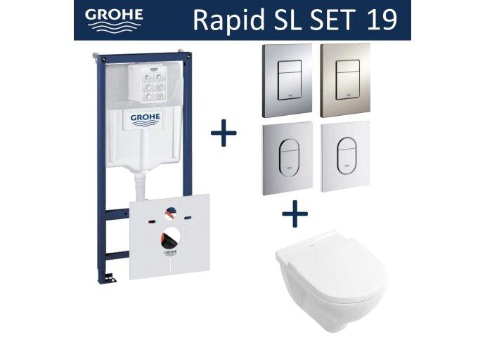 Grohe Rapid SL Toiletset set19 Villeroy & Boch O.novo DirectFlush met Grohe Arena of Skate drukplaat