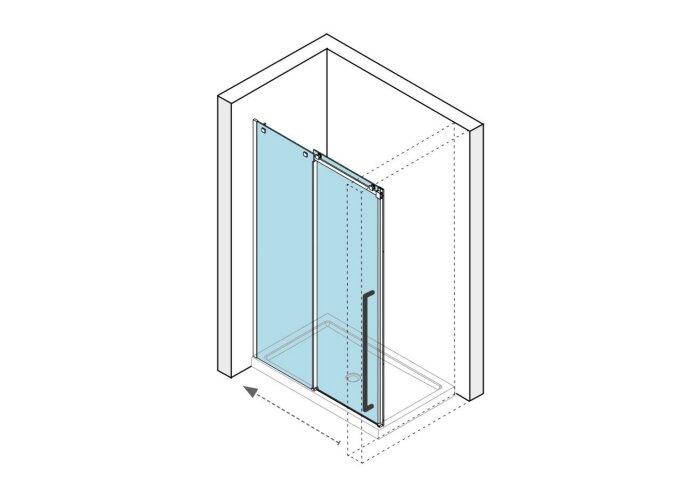 Nisdeur Lacus La Maddalena 140x210 cm Schuifdeur 8mm Helder Glas RVS