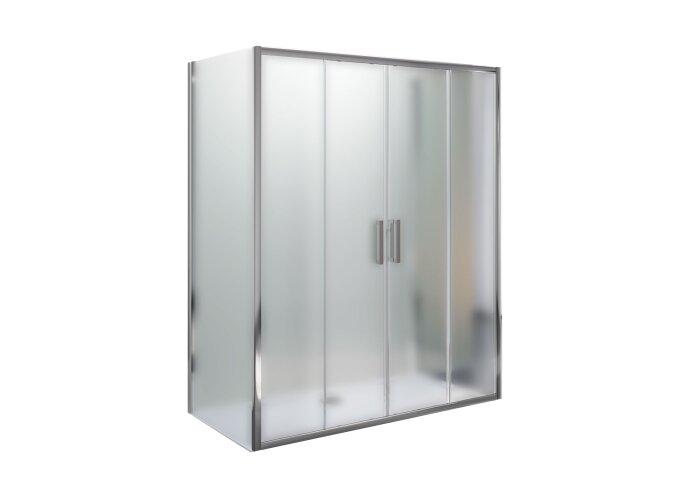 Douchecabine Lacus Stromboli met Schuifdeur en Dubbele Zijwand Mat Glas Aluminium Profiel Chroom (alle maten)