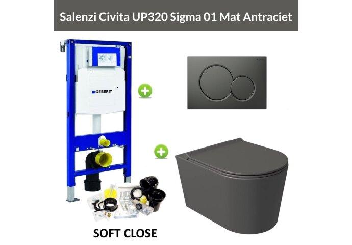 Geberit UP320 Toiletset Wandcloset Salenzi Civita Mat Antraciet met Sigma 01 Drukplaat