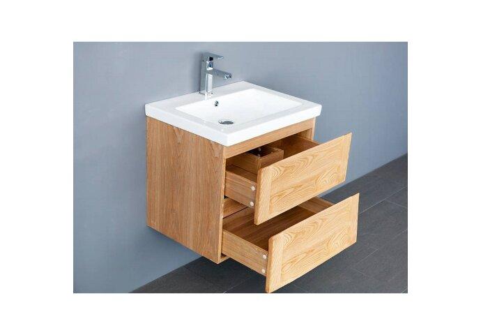 Badkamermeubelset Sanilux Wood Keramiek 60x47x50 cm Eikenhout (zonder of met kraangat)