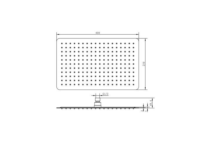 Regendouchekop Sapho Slim Rechthoek 40x25 cm Gepolijst RVS