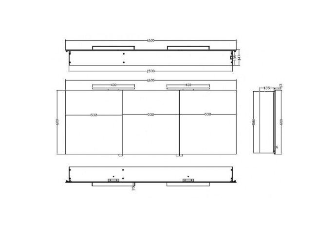 BWS LED Spiegelkast Luxe Aluminium 160x60x14 cm