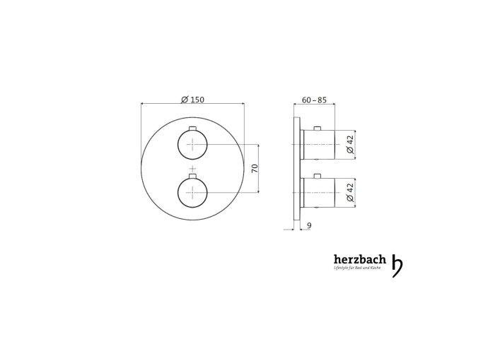 Inbouw Thermostaatkraan Herzbach Living Rond 3-Weg Omstel Chroom