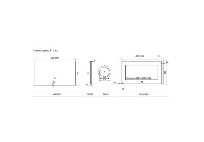 Badkamerspiegel Xenz Peschiera 120x70cm met Rondom Indirecte Verlichting en Spiegelverwarming