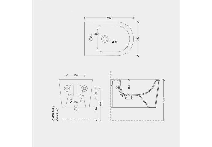 Bidet Salenzi Form Square Mat Taupe (exclusief kraan)