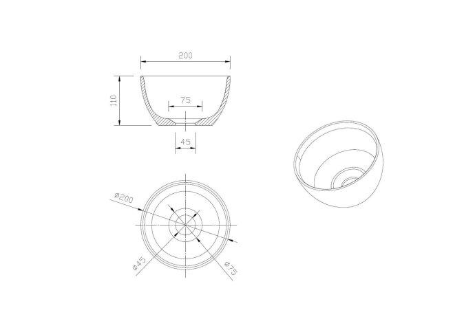Waskomset met Planchet BWS Rond 20x11 cm Solid Surface Wit (inclusief kraan, afvoer en sifon)