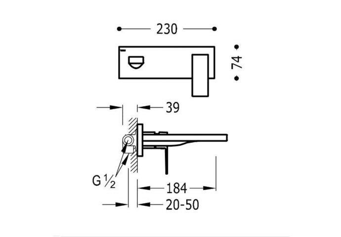 Wastafelmengkraan Inbouw Tres Cuadro 1-Hendel Uitloop Recht 18.4 cm Vierkant Mat Zwart