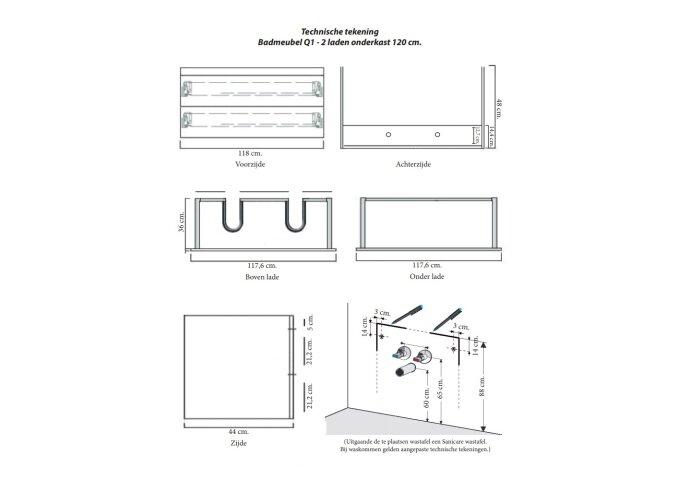Badkamermeubelset Sanicare Q1 Twee Soft-Close Laden 120 cm Grey-Wood (spiegel optioneel)
