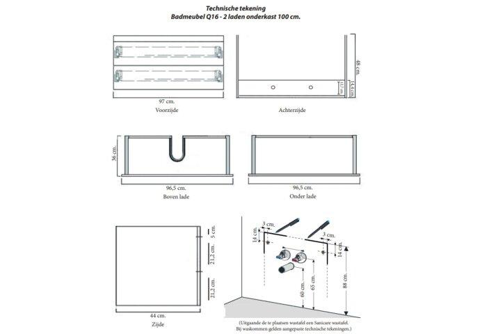 Badkamermeubelset Sanicare Q16 100 cm Hoogglans Wit (spiegel optioneel)