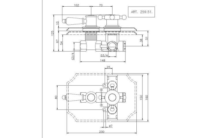 Huber Victorian inbouw thermostaatkraan 3/4 Brons 25951HBA