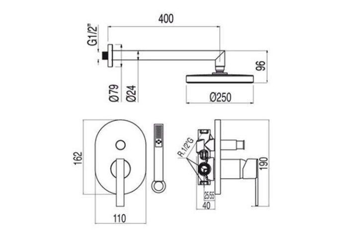 Lex-Tres Inbouw regendouche 18188005 (Regendouche inbouw)