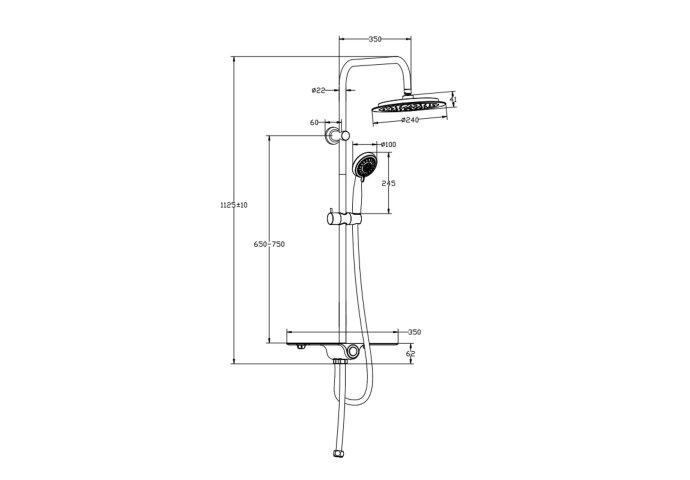 Regendouche Opbouwset Schutte Aquastar 5 Functies met Planchet Chroom Antraciet