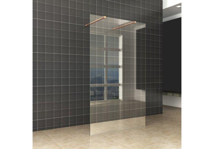 BWS Vrijstaande Inloopdouche Pro Line Helder Glas met Twee Stabilisatiestangen Koper