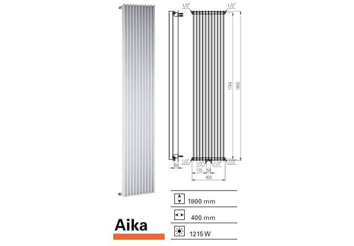 Designradiator Aika 1800 x 400 mm Donker Grijs