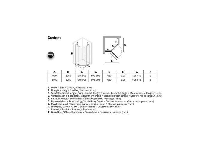5-hoek Douchecabine Sealskin Get Wet Custom Swingdeur Links 100x100 cm Zilver Hoogglans Helder Glas