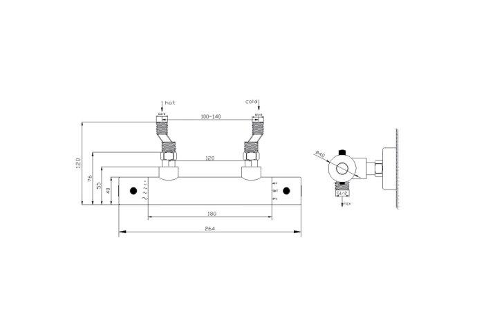 BWS Douchekraan Thermostatisch Rio h.o.h. 12 cm RVS Look (inclusief S koppelingen)