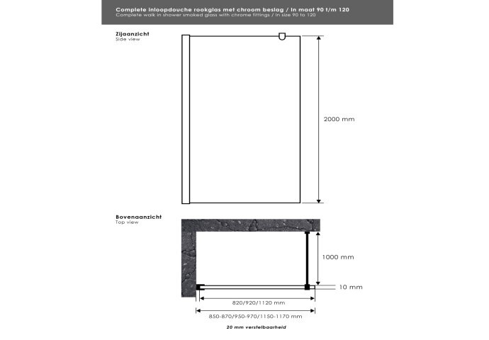 Inloopdouche Sanitop Smoke Rookglas 95x200 cm Chroom 10mm Taylor Protect