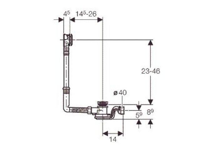 Geberit Pushcontrol Badwaste Standaard 23-46 Hoog/14,5-26 Naar Voren Chroom