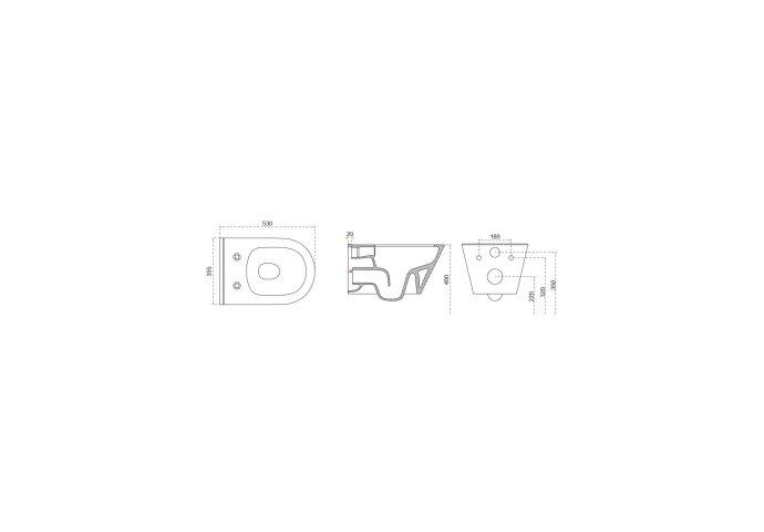 Wandcloset Boss & Wessing Randloos 53 cm Met Bidet-functie Wit