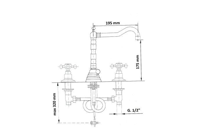Wastafelmengkraan Retro 3-gats Sapho Antea 2-knop Uitloop Gebogen 17.5 cm Nikkel (incl. waste)
