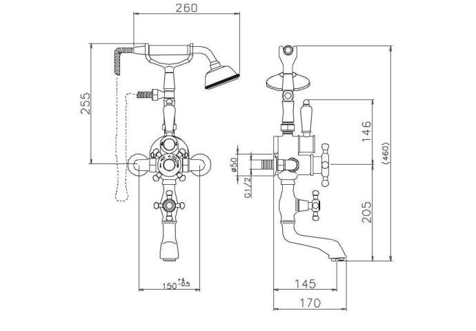 Huber Victorian Thermostatische Badkraan met Douchegarnituur Chroom-Goud 198VT01HCA