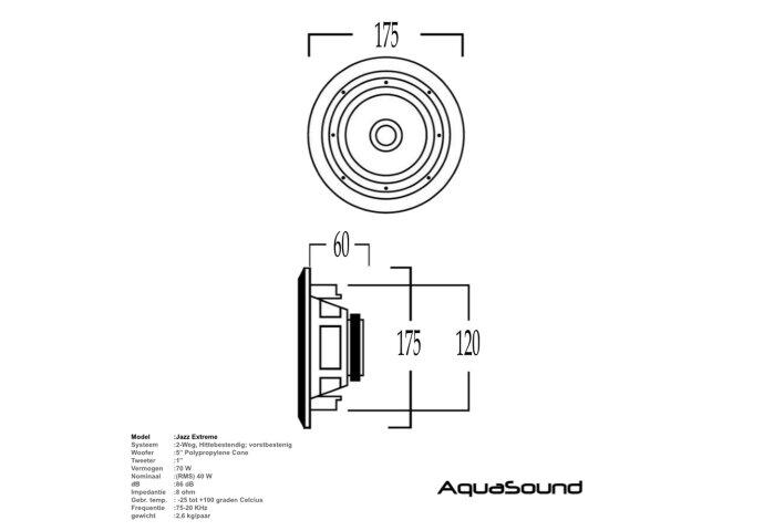 Speakerset Aquasound Jazz Waterdicht Hitte bestendig Vorstbestendig 40 Watt Wit Rond Ø 175 mm