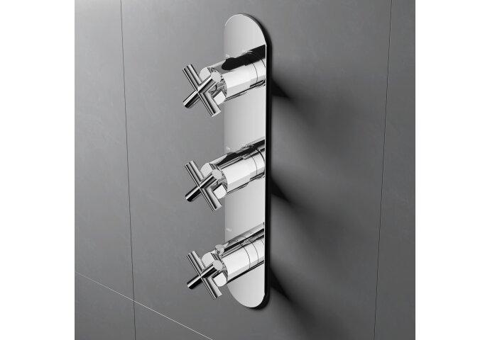 Douchethermostaat Hotbath Chap Inbouw 2 Stopkranen Verticaal Chroom