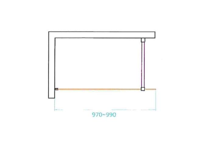 Douchewand Van Rijn ST04 Helder Glas 8 mm Aluminium Profiel Zwart 100x200 cm