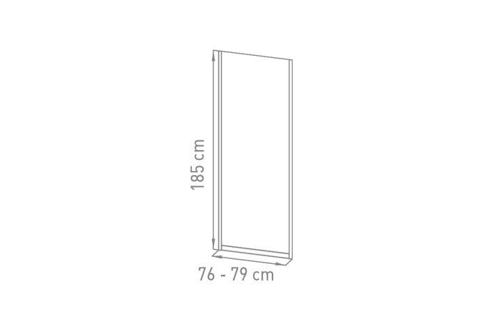Inloopdouche VM Go Avis 80x185cm Vaste Wand 4mm Veiligheidsglas Met Stroken Chroom