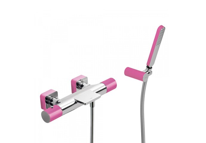 Badthermostaat Tres Loft Colors Waterval met Handdouche 33.2x15.6 cm Rond Fuchsia Chroom