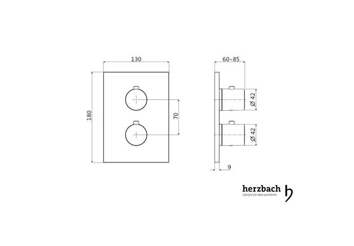 Inbouw Thermostaatkraan Herzbach Living Rechthoek 3-Weg Omstel Chroom (ronde hendels)