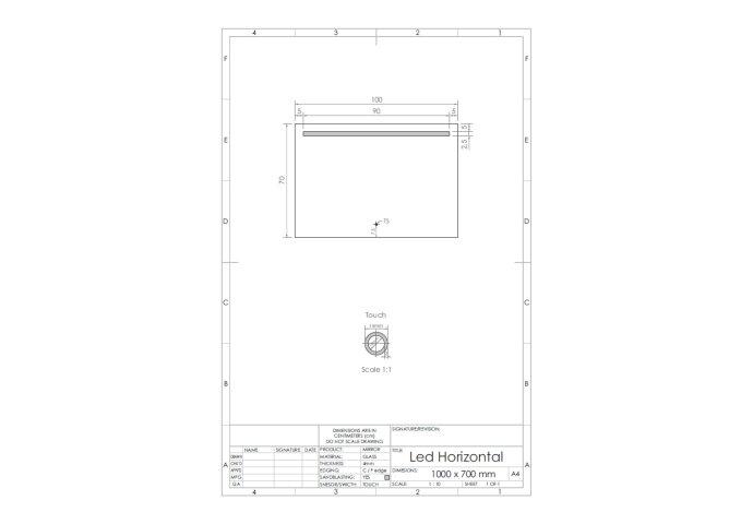 Spiegel Gliss Design Horizontaal Led Standaard Verlichting 100cm