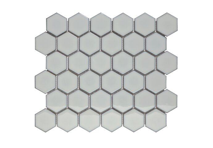 Mozaïek Barcelona 28.1x32.5 cm Geglazuurd Porselein Hexagon Glanzend Licht Grijs Met Rand (Prijs Per 0.91 m2)
