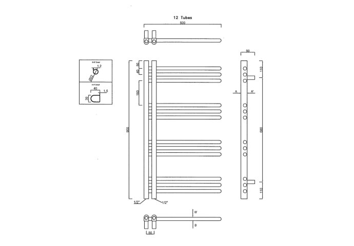 Handdoekradiator Sapho Dorlion Recht 50x90 cm Wit