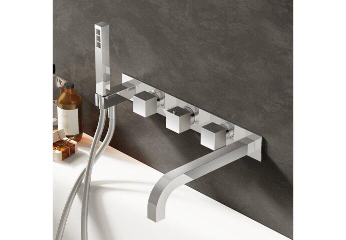 Badthermostaat Hotbath Bloke Inbouw 2-weg met Handdouche Chroom