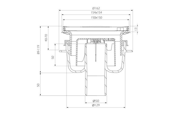 Doucheput Aquaberg ABS Vloerput met ABS Opzetstuk RVS Rooster Onderuitlaat 50mm Verstelbaar 15x15 cm