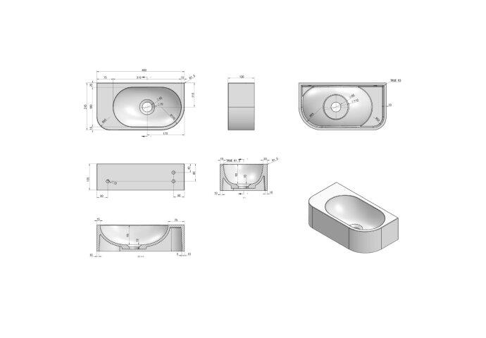 Fontein Luca Sanitair Wand 40x21.5x12 cm Solid Surface Zonder Kraangat Antraciet