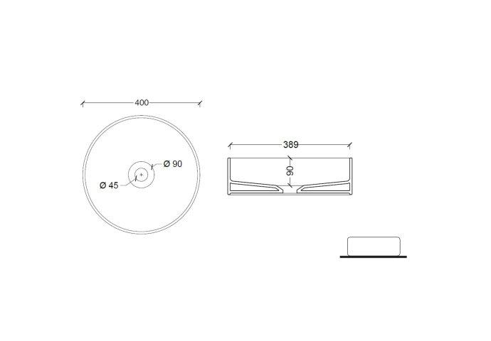 Opbouw Wastafel Salenzi Hide Circle 40x12 cm Mat Antraciet (inclusief bijpassende afvoerplug)