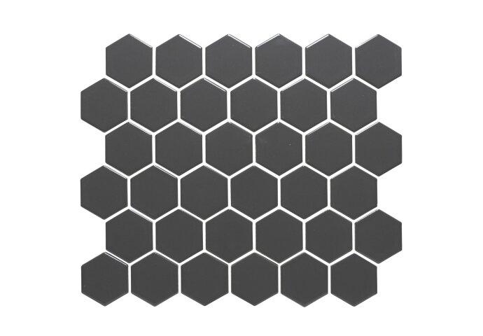 Mozaïek Barcelona 28.1x32.5 cm Geglazuurd Porselein Hexagon Donker Grijs (Prijs Per 0.91 m2)