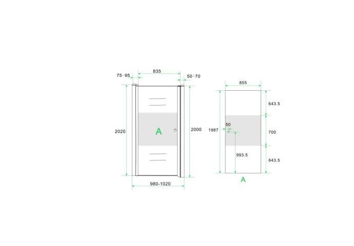 BWS Nisdeur met Middenband 100x200cm 8mm NANO Coating Links