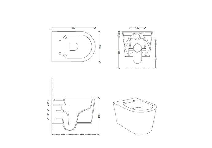 WandclosWandcloset Civita 50x35x36.5cm Keramiek Rimless Mat Roze (Excl. zitting)et Civita 50x35x36.5cm Keramiek Rimless Mat Grijs (Excl. zitting)
