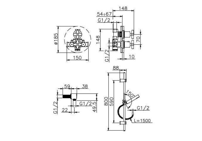 Huber Suite Inbouw Thermostaatkraan met glijstangset chroom 910ST01HCR