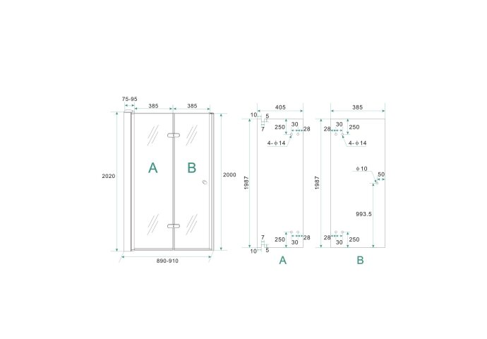 BWS Vouwbare Nisdeur Links 90x202 cm 8mm NANO Harmonica Deur