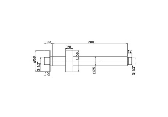 Plafonduitloop Vierkant Plafondbevestiging 20 cm Chroom