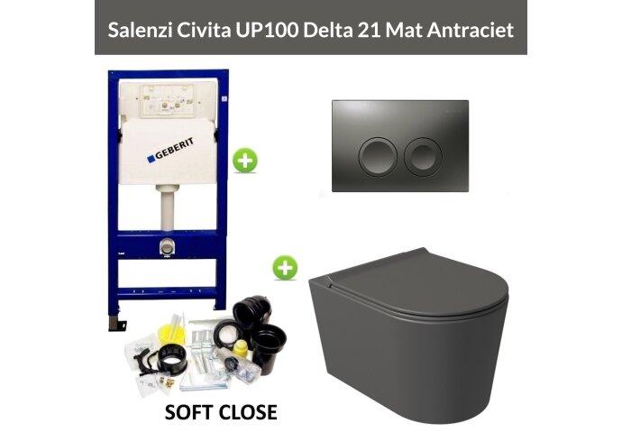 Geberit UP100 Toiletset Wandcloset Salenzi Civita Mat Antraciet met Delta 21 Drukplaat