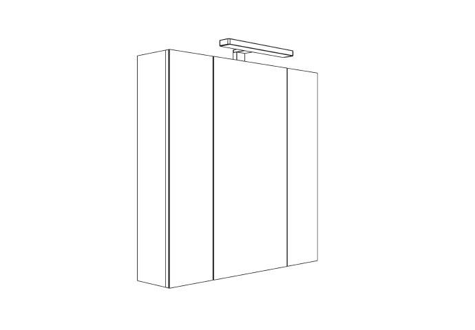 Spiegelkast Allibert Juno LED Verlichting 70x75.2x16cm Softclose Deuren Glans Wit