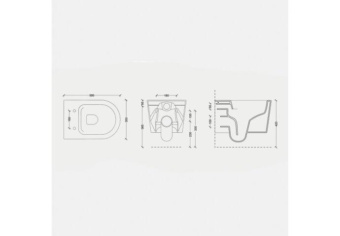 Wandcloset Salenzi Civita 50x35x36.5cm Keramiek Rimless Mat Taupe (excl. zitting)